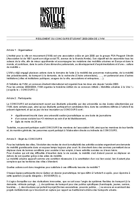 Reglement Du Concours Etudiants 2003 2004 De L Ivm Ivm